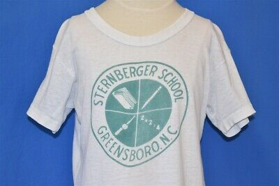 vtg 60s STERNBERGER SCHOOL GREENSBORO NC WHITE COTTON t-shirt YOUTH MEDIUM YM