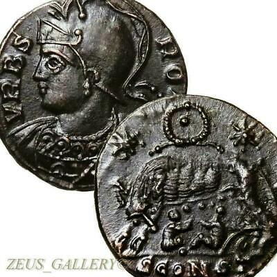SHE WOLF suckling Twins AU Ancient Roman Coin Arles Constantine the Great 333 AD