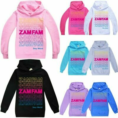 Zamfam Kids Boys Girls Hoodie Rebecca Zamolo Funny Youtuber Sweatshirt Jumper UK