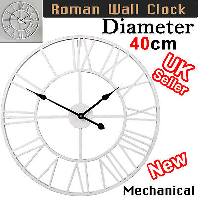 40cm Extra Large Roman Numerals Skeleton Wall Clock Big Giant Open Face Round UK