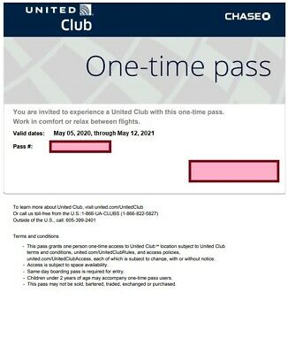 Two (2) United Airlines Club One-Time Passes - Exp. May 12, 2021 - Free Ship