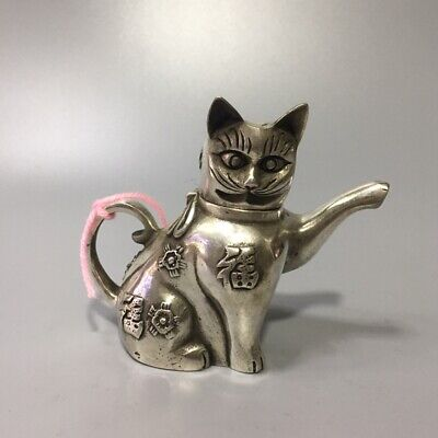 Handwork Collectable Decoration Miao Silver Carved Lovely Cat Beautiful Statue