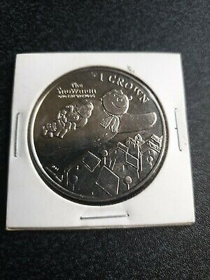 2014 ISLE OF MAN Christmas 1 One Crown Size The Snowman and Dog Unc Coin