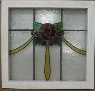 "OLD ENGLISH LEADED STAINED GLASS WINDOW Lovely ""Rose"" & Sweep 19.75"" x 18.5"""