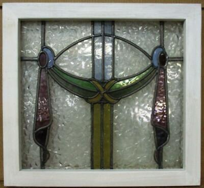 "OLD ENGLISH LEADED STAINED GLASS WINDOW Pretty ""Ribbon"" Design 18.75"" x 17.5"""
