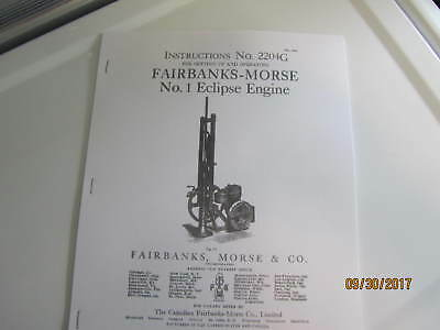 1914 Fairbanks Morse No. 1 Eclipse Gas Engine Instruction and parts Manual