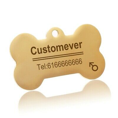 Engraved Tag  Dog  Personalised Bone Round Id Name Disc Small Large Pet Cat Tags