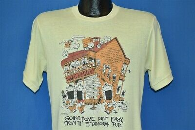 vintage 80s GOING HOME ISN'T EASY FROM TH' ETTAMOGAH PUB YELLOW t-shirt YOUTH XL