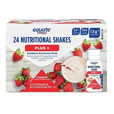 ( 24 Bottles ) Equate Plus, Meal Replacement, Weight Loss Strawberry Shake, 8 Oz