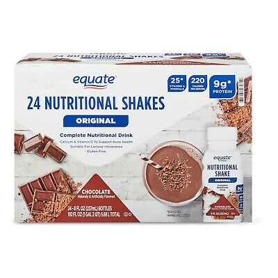 ( 24 Bottles ) Equate Meal Replacement Weight Loss & Energy Chocolate Shake 8 Oz
