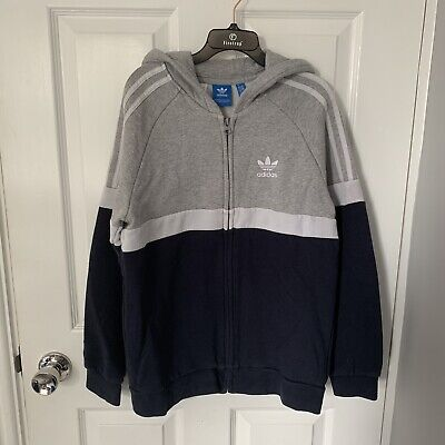 Boys Adidas Zip Up Hoodie Jacket ~ Grey & Navy ~ 13-14 Years