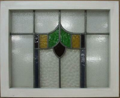"MID SIZED OLD ENGLISH LEADED STAINED GLASS WINDOW Abstract Floral 14.5/"" x 24.75/"""