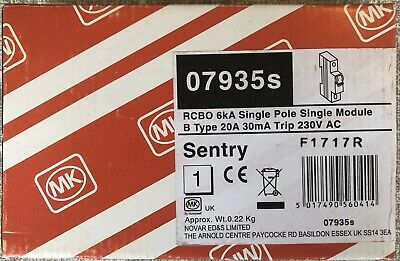 MK 20 Amp Type B 6kA 30mA RCBO Sentry 7935s 07935s Boxed And Unused