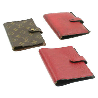 LOUIS VUITTON Monogram Epi Agenda PM Day Planner Cover 3Set Red Auth 17333