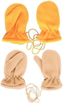 2Pack Kids Soft Solid Fleece Lining Mittens with String