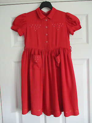 1950s St Michael girl's dress size 28 ins in red
