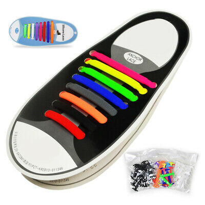 No Tie Shoelaces Colored Trainers Rubber Snickers Easy Kids Adults Shoe Laces