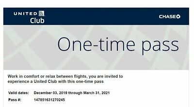 2 United Airlines Club Lounge One Time Passes EXPIRES March 31 2021