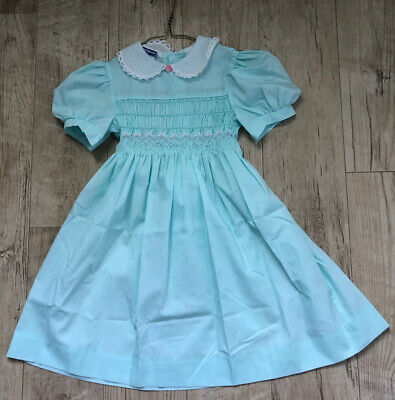 Polly Flinders Vintage Girls GREEN S/S  Hand Smocked Dress Lace COLLAR  6X