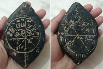 Very Rare Near Eastern Black Stone Tablet With Star Map On Both Sides C 3000Bc