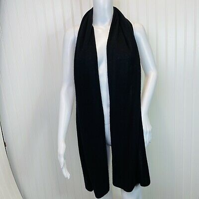 "Cashmere Scarf Rectangle Long Unbranded Black 74"" x 15"""