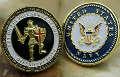 Army Armor Soldier Challenge Coin Put On The Whole Armor Of God of Navy 10PC SET