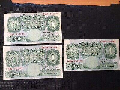Three Bank of England One pound Peppiatt Banknotes