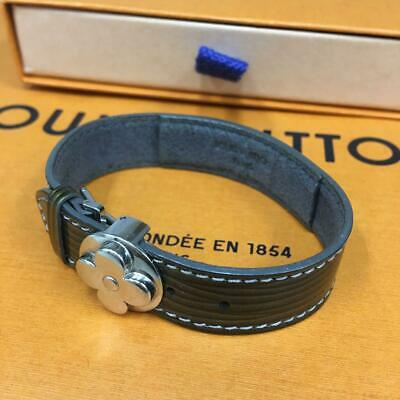 Authentic Louis Vuitton Good Luck Cyber Epi Leather Bracelet Ansus Silver Used