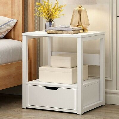 Mainstays Classic Wooden Open Shelf Nightstand Bedside End Table White 50 01 Picclick