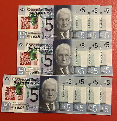 Clydesdale Bank £5 Note X10 Uncirculated FB/1