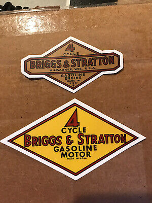 Briggs And Stratton Engine Stickers/decals Vintage Antique Pair