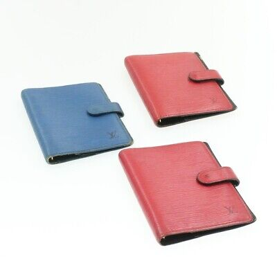 LOUIS VUITTON Epi Agenda PM Day Planner Cover 3Set Red Blue LV Auth yk431