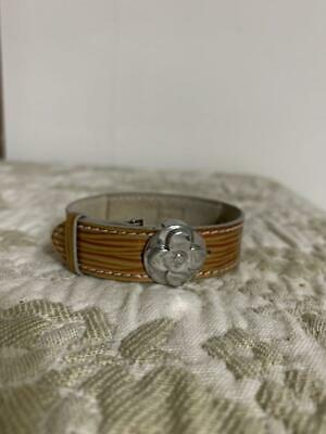 Authentic Louis Vuitton Good Luck Cyber Epi Leather Bracelet Brown/Silver Used