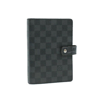 LOUIS VUITTON Damier Graphite Agenda MM Day Planner Cover R20242 Auth yk212