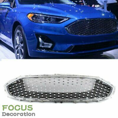 For 2019 2020 Ford Fusion Front Upper Bumper Grille Grill Chrome Honeycomb Mesh