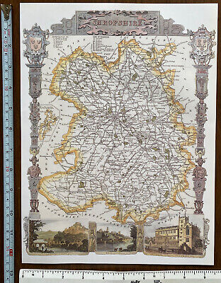 Old Antique Victorian map Yorkshire North Riding Moule Reprint England 1830/'s