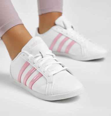 ADIDAS WOMENS GIRLS Coneo QT Shoes Trainers White/Pink F34703 UK ...