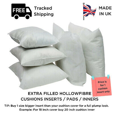 Pack of 2 Extreme Fill Plump Hollowfibre Cushion Pads Inners Fillers Scatters