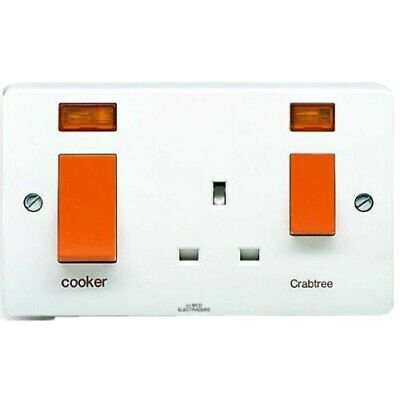 45A Double pole Cooker Switch Socket Outlet 45 Amp 1G 2G Neon Round Edges 250V
