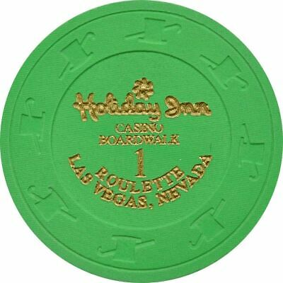 Holiday Inn Casino Boardwalk Green Roulette 1 Chip Las Vegas NV 1995