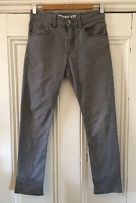 H&M Boys Grey Cotton Canvas Fit Skinny-Fit 5-Pocket Jeans 11-12 Years 152cm VGC