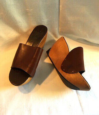 Clergerie UK5 /38 Leather Wood Open-Toe Clogs Sliders Wedge Flatform Sandal FAB