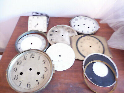 Found Antique/ Vintage Clock Movement Parts Faces And Bezel Rings+ Glass