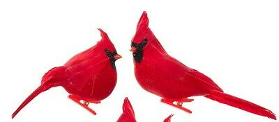 Set of 2 BURGUNDY BIRD Clip-On Christmas Ornaments by Kurt Adler