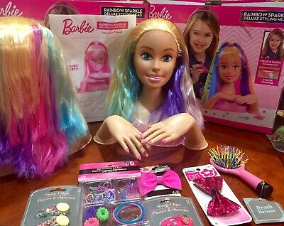 Barbie Rainbow Sparkle Deluxe Styling Head Curly Hair 54 99 Picclick