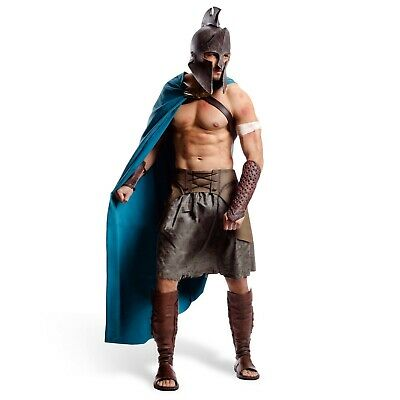 300 Themistocles Deluxe Film Costume Greek Costume Men 6 Piece Helmet Cloak B...