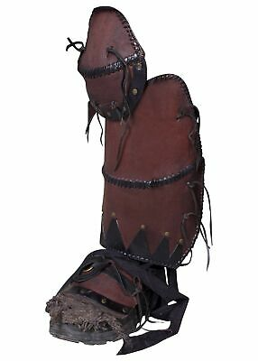 Premium Greaves Ork Brute, Pair LARP Leg guards ork Cosplay Medieval Black or...