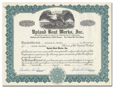 Upland Boat Works, Inc. Stock Certificate (Chester, Pennsylvania)