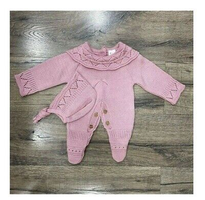 NEW 2020 Baby Girls Spanish Romany Outfit Pink Knitted /& Ribbon Bow Dress