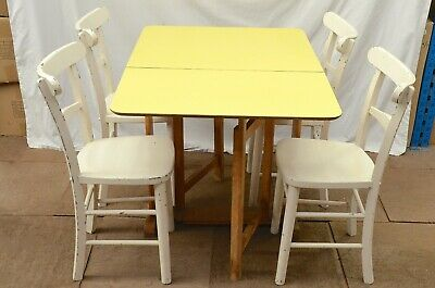 Vintage Retro Small Formica Dining Kitchen Drop Leaf Yellow Table With 4 Chairs 95 00 Picclick Uk